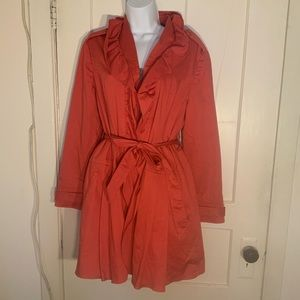 Elle Spring Coral Zippered Up Trench Coat Large